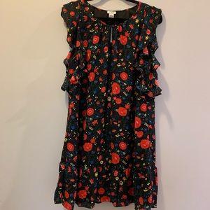 J. Crew Floral Sleeveless Ruffle Dress